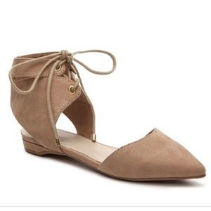 MIA | Tan Brandee Leather Suede Pointed Toe Flats
